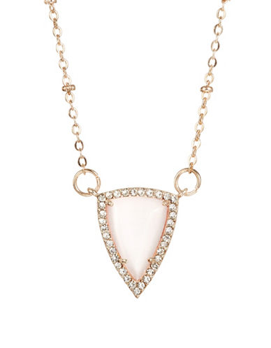 Design Lab Lord & Taylor Rose Gold Stone and Crystal Pendant Necklace-PINK-One Size