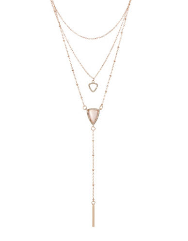 Design Lab Lord & Taylor Rose Gold Stone and Crystal Pendant Layered Necklace-PINK-One Size