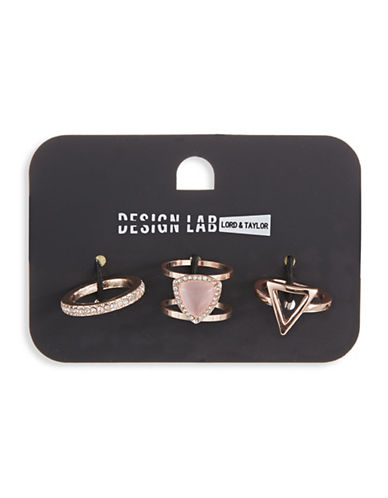 Design Lab Lord & Taylor Rose Gold Stone and Crystal Ring Set-PINK-One Size