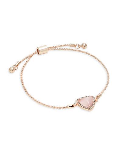 Design Lab Lord & Taylor Rose Gold Stone and Crystal Slider Bracelet-PINK-One Size