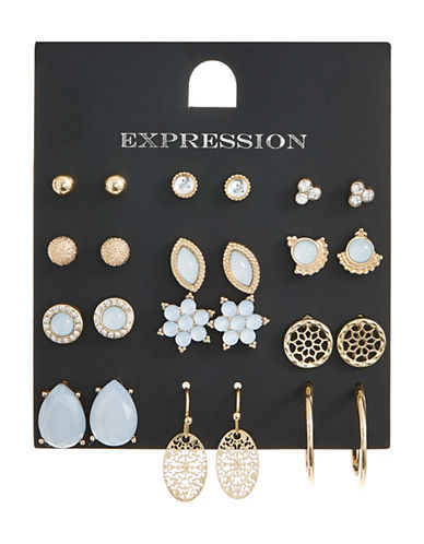 Expression Pack of Twelve Crystal Assorted Earring Set-ASSORTED-One Size