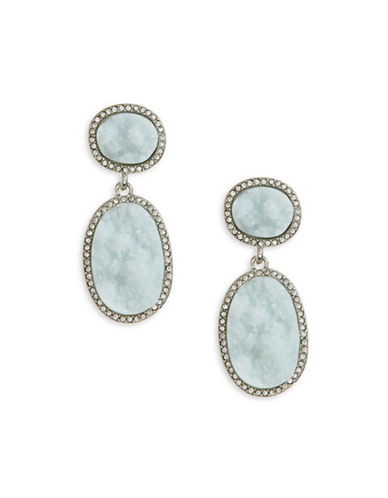 Expression Crystal Druzy Double Drop Earrings-GREEN-One Size