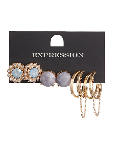 Expression Three-Pack Mini Double Hoops and Stud Earrings-BLUE-One Size