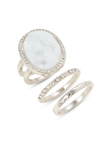 Expression Three-Piece Druzy Ring Set-GREEN-8