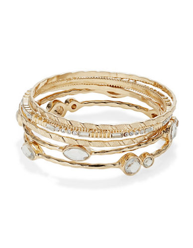 Expression Set of Five Crystal Oval Station Bangle Bracelets-GOLD-One Size