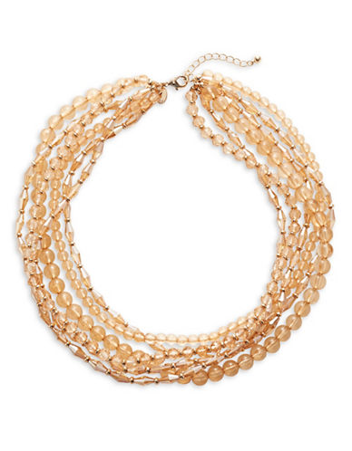 Expression Crystal Multi Row Necklace-ORANGE-One Size