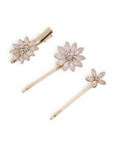 Expression Set of Three Flower Bobby Pins-PINK-One Size