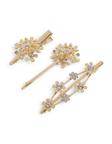 Expression Set of Three Multi-Size Flower Bobby Pins-GOLD-One Size