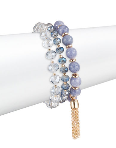 Expression Three-Pack Beaded Stretch Bracelets-PURPLE-One Size