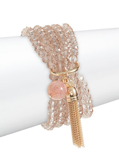 Expression Beaded Tassel Bracelet-ORANGE-One Size