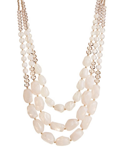Expression Three-Row Beaded Necklace-WHITE-One Size