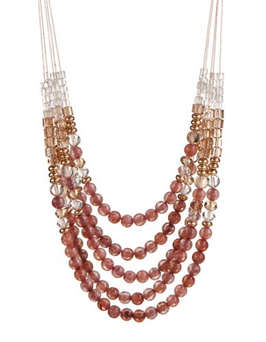 Expression Multi-Row Beaded Necklace-ORANGE-One Size
