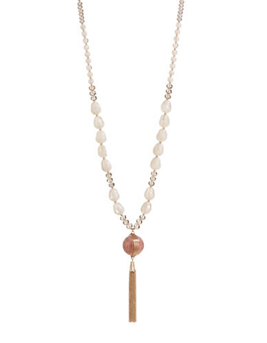 Expression Long Beaded Tassel Necklace-WHITE-One Size