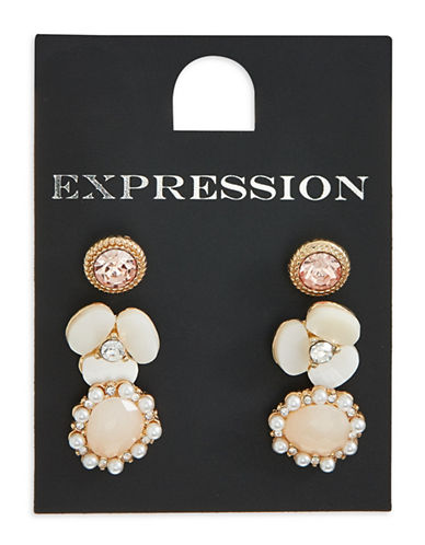 Expression Three-Pack Floral Stud Earrings-GOLDTONE-One Size