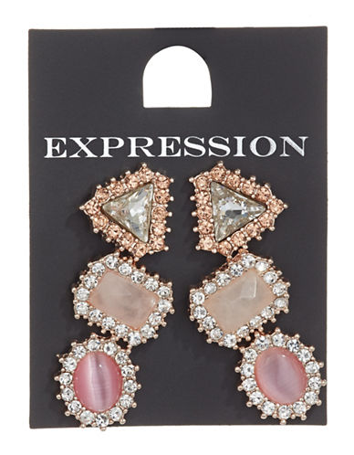 Expression Pack of Three Pavé Crystal Assorted Stud Earring Set-PASTEL-One Size