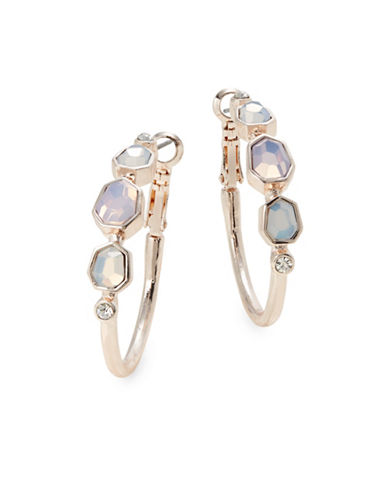 Expression White Glass Goldtone Hoop Earrings-PASTEL-One Size