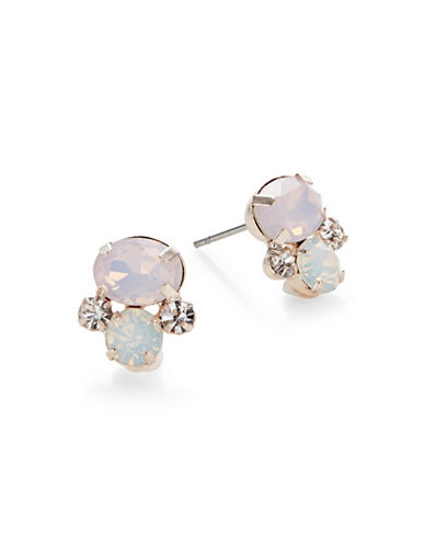 Expression Crystal Stud Earrings-PASTEL-One Size