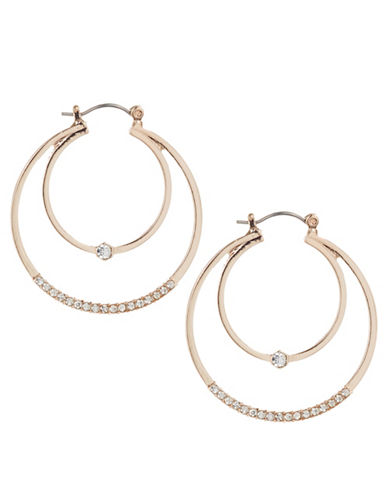 Expression Crystal Hoop In A Hoop Earrings-ROSE GOLD-One Size