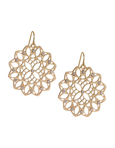 Expression Crystal Circle Filigree Drop Earrings-GOLD-One Size