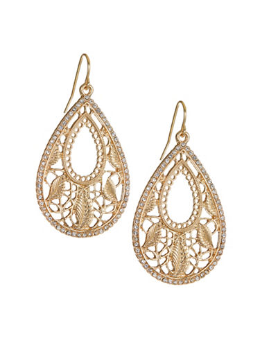 Expression Crystal Leaf Drop Earrings-GOLD-One Size