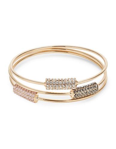 Expression Crystal and Goldtone Bangle Bracelet Set-ASSORTED-One Size