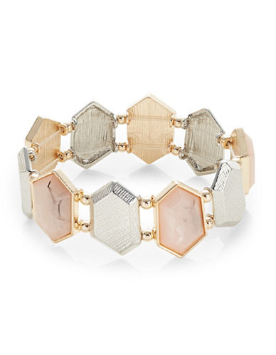 Expression Faceted Crystal Stretch Band Bracelet-PINK-One Size