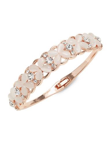 Expression Crystal and Rose Goldtone Hinge Bracelet-PINK-One Size