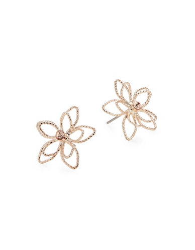 Expression Wire Flower Stud Earrings-ROSE GOLD-One Size