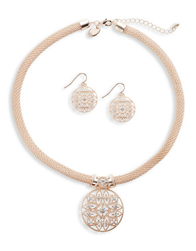 Expression Crystal Circle Necklace and Earring Set-ROSE GOLD-One Size