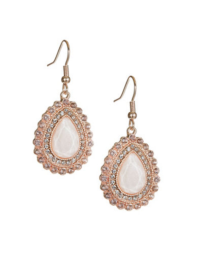Expression Crystal Teardrop-Shaped Drop Earrings-PINK-One Size