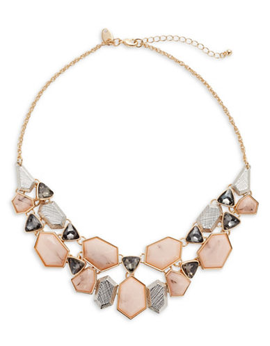 Expression Multi-Shape Stone Necklace-PINK-One Size