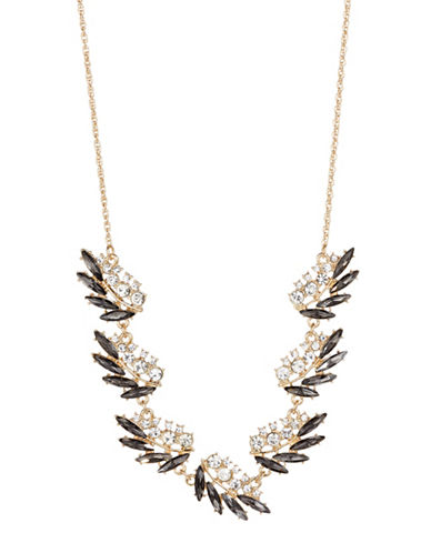 Expression Crystal Leaf-Shape Statement Necklace-GOLD-One Size