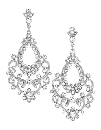 Expression Crystal Scroll Drop Earrings-SILVER-One Size