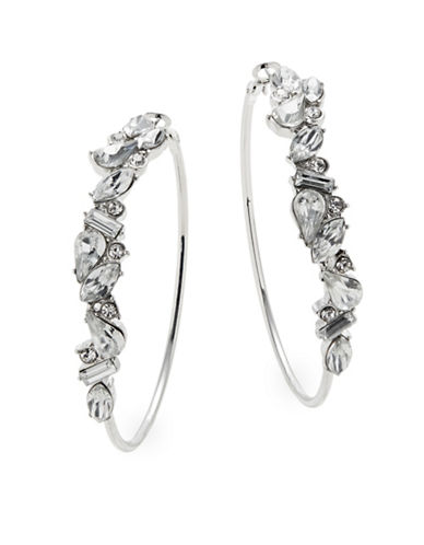 Expression Silvertone Embellished Hoop Earrings-SILVER-One Size
