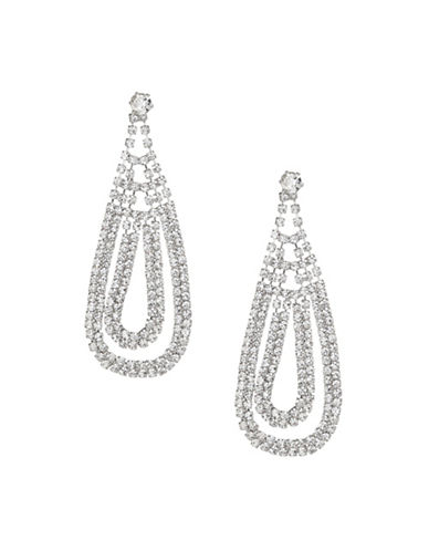 Expression Crystal Two-Row Teardrop Earrings-SILVER-One Size