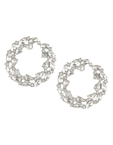 Expression Crystal Flat Disc Earrings-SILVER-One Size