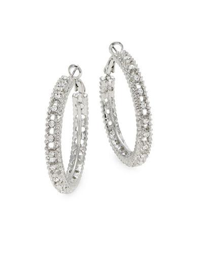 Expression Silvertone Glass Hoop Earrings-SILVER-One Size