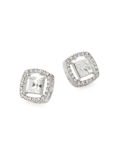 Expression Silvertone Square Glass Stud Earrings-SILVER-One Size