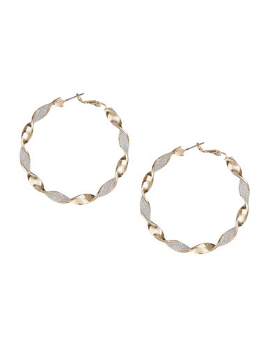 Expression Goldtone Twisted Glitter Hoop Earrings-SILVER-One Size