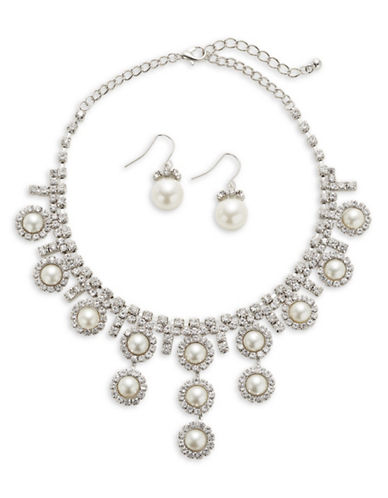 Expression Faux Pearl Disc Drop Necklace and Earrings Set-WHITE-One Size