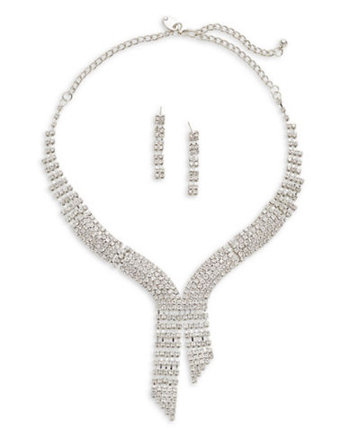 Expression Multi-Crystal V-Necklace and Earrings Set-SILVER-One Size