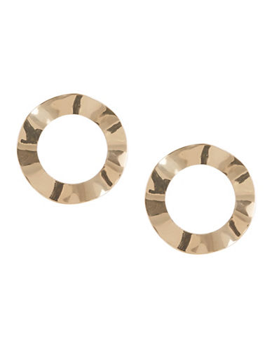Expression Flat Hammered Hoop Earrings-GOLD-One Size