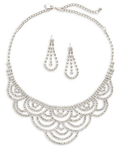Expression Crystal Statement Necklace and Earring Set-SILVER-One Size