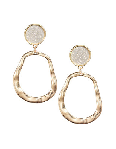 Expression Hammered Glitter Drop Earrings-GOLD-One Size