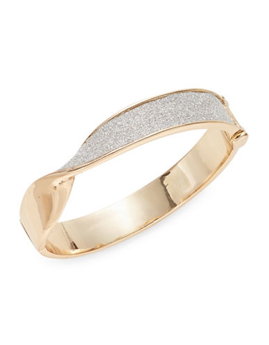 Expression Twisted Glitter Hinge Bracelet-GOLD-One Size