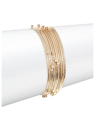 Expression Ten-Piece Rhinestone Bangle Set-GOLD-One Size