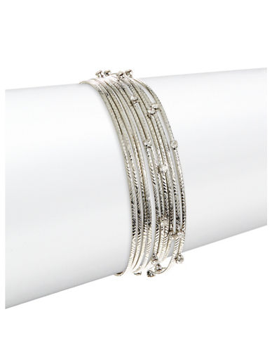 Expression Ten-Piece Rhinestone Bangle Set-SILVER-One Size