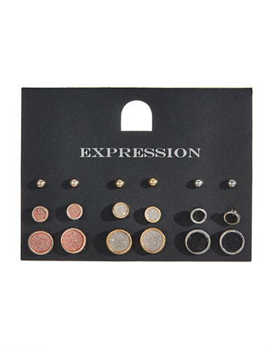 Expression Set of Nine Crystal Glitter Stud Earrings-ASSORTED-One Size