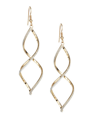 Expression Crystal Twisted Linear Earrings-SILVER-One Size