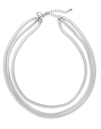 Expression Three-Row Flat Snake Chain Necklace-SILVER-One Size